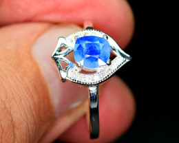 Natural worthy top blue rare afghanite ,CZ 925 Silver Ring