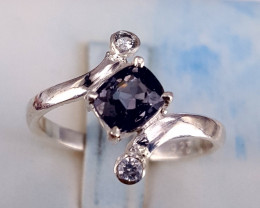 Natural Spinel with CZ Ring.