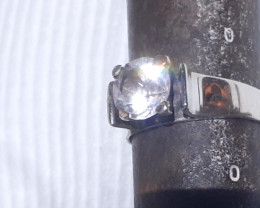 sterling silver ring with gemstone/rock crystal