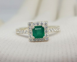 Natural Green Emerald 15.30 Carats 925 CZ Ring From Laghman