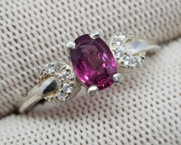 Natural Purple Rhodolite Garnet 10.00 Carats 925 Silver Ring -