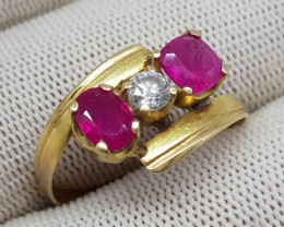 Natural Ruby And Diamond 17.10 Carats 21K Gold Ring