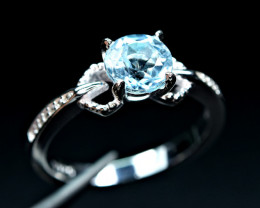 Irradiated Nice blue color Natural Topaz 925 Silver Ring