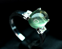 Natural lustrous Nice color Prehnite , CZ 925 Silver Ring