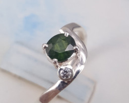 Natural Green Sapphire with CZ Ring.