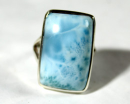 Splendid Natural Sky Blue Larimar .925 Sterling Silver Ring #7.5 free resiz