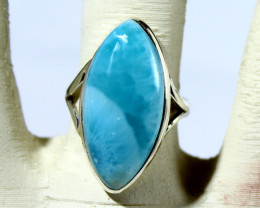 Excellent Natural Sky Blue AAA++ Larimar .925 Sterling Silver Ring #7.5 fre