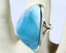 Impressive 1.1inch Natural Sky Blue Larimar .925 Sterling Silver Ring #7