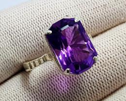Natural Purple Amethystos (Amethyst) - 925 Sterling Silver Ring (2OCT)