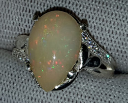Natural Fire Opal 20.90 Carats 925 Silver Ring N13
