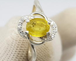 Natural Yellow Sapphire 10.90 Carats 925 Silver Ring I14