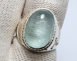 Natural Blue Aquamarine Cabochon Ring 925 Sterling Silver