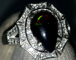 Natural Black Fire Opal 22.70 Carats 925 Silver Ring I15