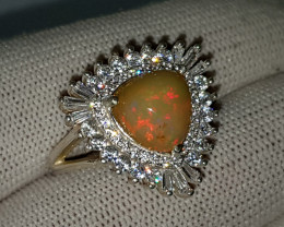 Natural Multi Fire Pear Opal Ring 925 Sterling Silver