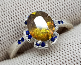 Natural Yellow Fire Sphene (Titanite) 18.80 Carats 925 Silver Ring I16