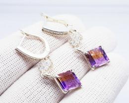 Natural BI Color Bolivianite (Ametrine) Earrings 925 Sterling Silver