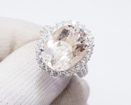 Natural Pink Morganite Ring 925 Sterling Silver