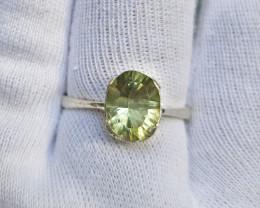 Natural prasiolite 15.00 Carats 925 Silver Ring, Ring Size 10.