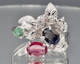 Natural Ruby , Sapphire and Emerald Silver Ring