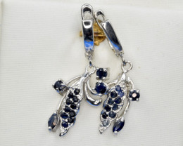 Natural Dark Sapphire and 925 Silver Earring, Elegant Design