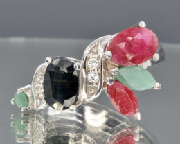 Natural Ruby, Sapphire and Emerald Silver Ring