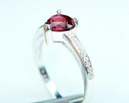 100% Natural Top Transparent lustrous Heart Shape Tourmaline ,CZ 925 Silver