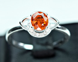 Natural top color lustrous spessertite garnet 925 Silver ring