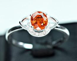 Natural top color lustrous spessertite garnet 925 Silver ring