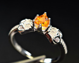 Natural top color lustrous Clinohumite , CZ 925 Silver Ring