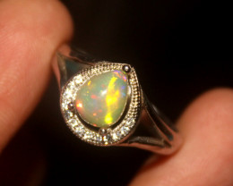 Natural Ethiopian Welo 925 Silver Opal Ring 66