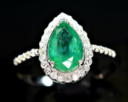 100%Natural 1.26Ct Emerald  and 34pis 1.2mm G/DiamondVS1   -925 Silver Ring