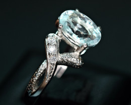 1.98 Carats Natural light Blue Transparent Aquamarine,CZ  925 Silver Ring