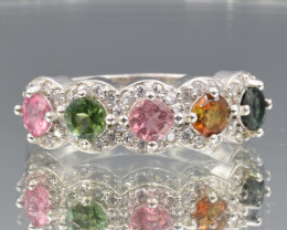 Natural Tourmalines, Cz and Silver Ring