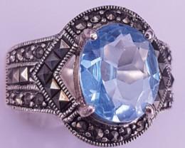 Natural Swiss Blue Topaz Ring.
