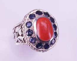 Hand Made Natural Sapphire & Coral Ring.