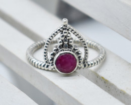 RUBY RING 925 STERLING SILVER NATURAL GEMSTONE JR878