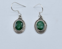 EMERALD EARRINGS 925 STERLING SILVER NATURAL GEMSTONE JE51