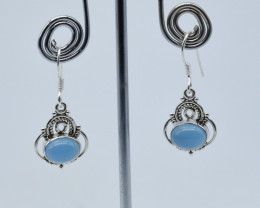 CHALCEDONY EARRINGS 925 STERLING SILVER NATURAL GEMSTONE JE52