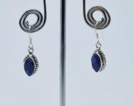 BLUE SAPPHIRE EARRINGS 925 STERLING SILVER NATURAL GEMSTONE JE53