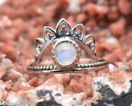 RAINBOW MOONSTONE RING 925 STERLING SILVER NATURAL GEMSTONE JR881
