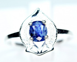 Natural worthy top blue rare afghanite ,CZ 925 Silver Ring size-