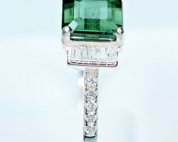 Natural top transparent Green Tourmaline ,CZ 925 Silver Ring