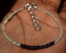 Natural Ethiopian Welo Opal & Smoked Opal Beads Bracelet 3