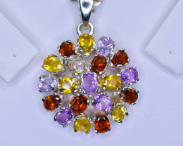 27.63 Crt Natural Amethyst Citrine And Garnet 925 Silver Pendant