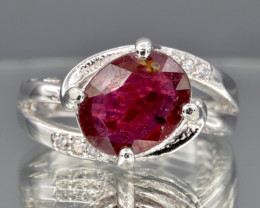Heated Natural Ruby, CZ and 925 Silver Ring