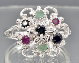 Natural Ruby , Sapphire, Emerald ,  CZ and 925 Silver Ring