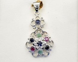 Natural Ruby , Sapphire, Emerald and 925 Silver Pendant, Elegant Design