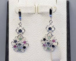 Natural Ruby , Sapphire, Emerald and 925 Silver Earring, Elegant Design