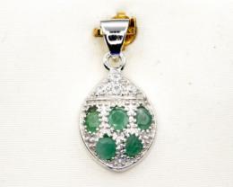 Natural Emerald, CZ and 925 Silver Pendant, Elegant Design