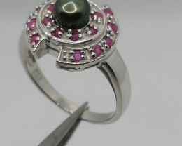 Natural Pearl and Ruby Ring.